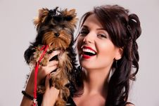 Free Young Woman With A Little Dog Royalty Free Stock Photography - 14510007