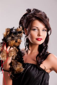 Free Young Woman With A Little Dog Stock Images - 14510094