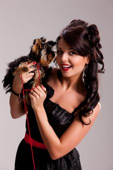 Free Young Woman With A Little Dog Stock Photo - 14510190