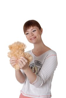 Free Charming Young Woman With Teddy In The Hands Stock Image - 14510551