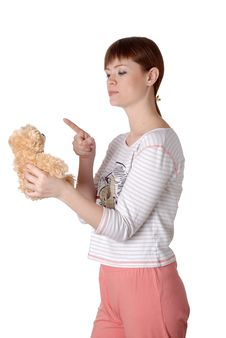 Free Charming Young Woman With Teddy In The Hands Stock Photography - 14510552