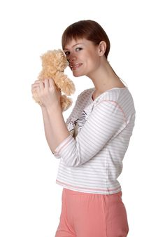 Free Charming Young Woman With Teddy In The Hands Royalty Free Stock Image - 14510556
