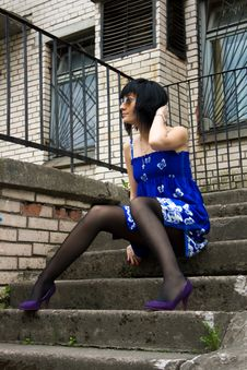 Free Girl On The Stairs Royalty Free Stock Photos - 14511328