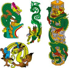 Free Dragon Set Nineteen Royalty Free Stock Images - 14511439