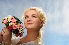 Free Woman With A Butterfly Over Blue Sky Royalty Free Stock Images - 14511749