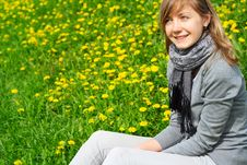 Free The Girl Sits On A Grass Stock Image - 14511871