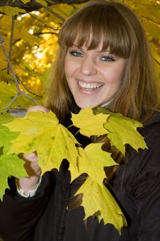 Free Young Girl In Autumn Park Royalty Free Stock Photos - 14513478