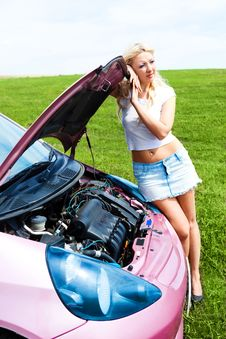 Free Girl Repairing Car Stock Photo - 14513650