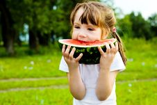 Free Girl Eating Watermelon Royalty Free Stock Photo - 14514175