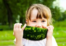 Free Girl Eating Watermelon Royalty Free Stock Images - 14514249