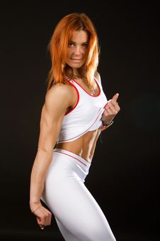 Free Attractive Red-haired Girl Doing Exercise Stock Photography - 14514362