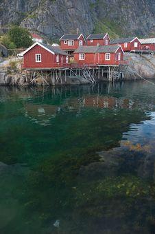 Fishing Village, Lofoten Islands In Norway Royalty Free Stock Photos
