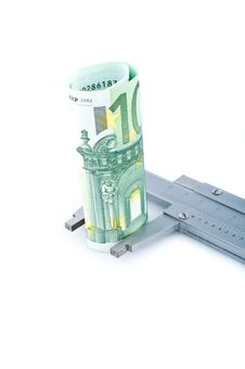Free Measuring Euro Banknotes With  Calipers Stock Images - 14515724
