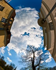 Fisheye Look Of A Town Sky Royalty Free Stock Photo