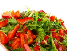 Free Coriander And Sweet Pepper Salad Stock Photography - 14519352