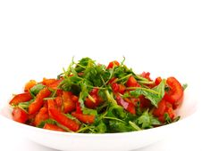 Free Coriander And Sweet Pepper Salad Royalty Free Stock Image - 14519366