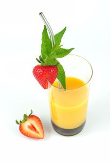 Orange Cocktail With Strawberry Stock Images