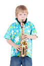 Free Boy Plays On Saxophone Royalty Free Stock Photos - 14522068
