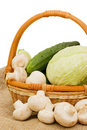 Free Wattled Basket With Vegetables Stock Photo - 14524270