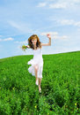 Free Women Run On A Meadow Stock Images - 14524304