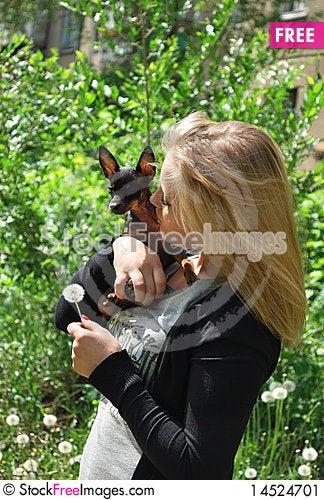 Free Girl And Dog Stock Image - 14524701