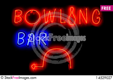 Free BOWLING BAR Neon Sign With Arrow Royalty Free Stock Photography - 14529027
