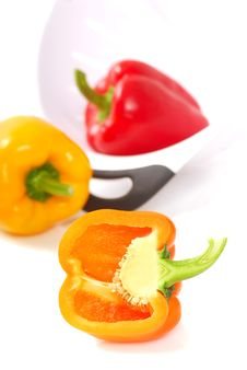 Free Orange, Yellow And Red Bell Peppers Stock Images - 14520484