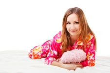 Free Sweet Young Girl In Pink Pajamas On Bed Royalty Free Stock Photos - 14521828