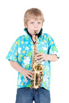 Free Boy Plays On Saxophone Royalty Free Stock Photos - 14522068