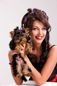 Free Young Woman With A Little Dog Stock Photo - 14522300