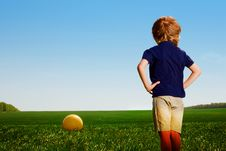 Free Small Boy With Ball In Field Stock Images - 14523584