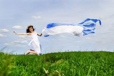 Free Happy Young Woman Jumps Stock Images - 14523814