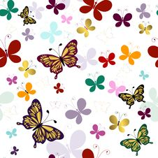 Free Seamless Pattern With Butterflies Royalty Free Stock Image - 14524146