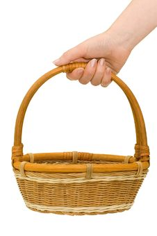 Free Wicker Basket In Hand Stock Image - 14524261