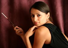 Free Young Adult Brunette Woman With A Cigarette Stock Photo - 14524710
