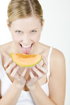 Free Woman With Melon Stock Photography - 14525092