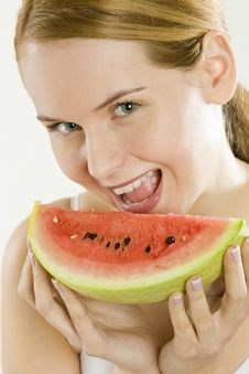 Free Woman With Melon Stock Photos - 14525153