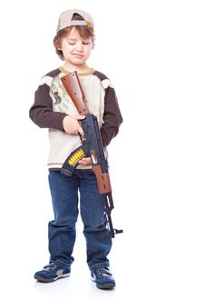 Free Portrait Of Little Boy With Automatic Weapon Stock Image - 14525411