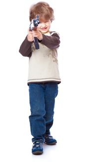 Free Portrait Of Little Boy With Automatic Weapon Stock Images - 14525414