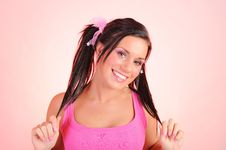 Free Beautiful Woman With Funny Dual Pony Tails Stock Image - 14528781