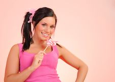 Free Beautiful Teenage Girl With A Lollipop Royalty Free Stock Photos - 14528788