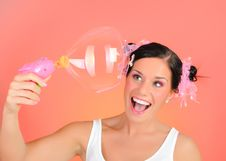 Happy Teenage Girl Blowing Soap Bubbles Royalty Free Stock Images