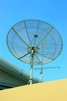 Satellite On The Roof Stock Photography