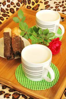 Milk For Breakfast In Bed Stock Photos