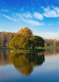 Idyllic  Park Area Near Blue Lake Stock Images