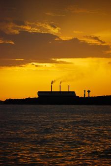 Free Sunset Silhouette Of Factory Stock Photography - 14530222