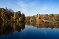 Idyllic  Park Area Near Blue Lake Stock Image