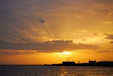 Free Sunset Silhouette Of Factory Stock Photography - 14530322