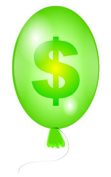 Free Balloon With Sign Dollar Green Royalty Free Stock Photography - 14531367