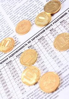 Free Ten Rouble Coins On The Newspaper Royalty Free Stock Photos - 14532098